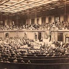 WW1 Stereoview - US President Wilson Addressing Congress on War with Germany