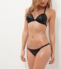 -% NEW LOOK EXCLUSIVE Black Sequin Bikini Set HOT UK 10
