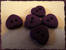 7 BOUTONS COEUR violet mat 12 mm 1,2 cm  2 trous heart Button sewing lot couture