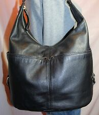 TIGNANELLO Medium Large Black Leather Shoulder Hobo Tote Slouch Purse Bag