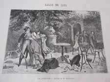 Gravure 1872 - La dispute d'après tableau de M. Kaemmerer