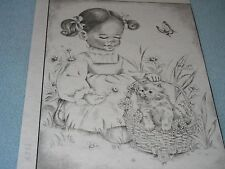 a TRI CHEM 7354 GIRL WITH KITTEN IN BASKET Picture to paint TRICHEM