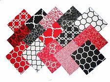 75 4 inch Quilting Fabric Squares Red/Black and Whites-15 DIFFERENT-5 OD EACH
