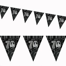 12ft Black Sparkle Happy 70th Birthday Pennant Flag Banner Party Decoration