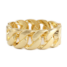 "Fashion Gold Tone 1"" Wide Chunky Link Chain Hinged Bangle Bracelet"