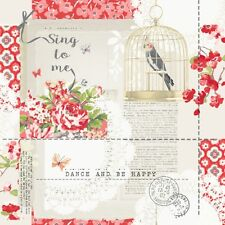 SALE | Vintage Shabby Chic Wallpaper Bird Cage Quotes Neutral Red 671301