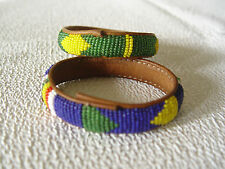 2 VINTAGE LEATHER AND BEADS BRACELET BEADED