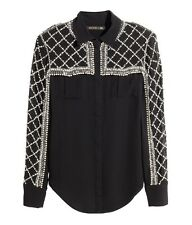 BNWT BALMAIN x H&M Black Embellished Beaded Pearls Silk Blouse Shirt Top EUR 38