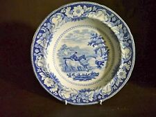 "Pearlware blue & white transfer pudding bowl  plate Ridgway ""Rural Scenery"""