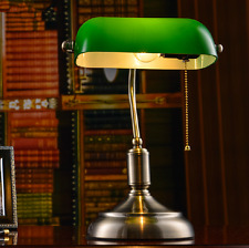 Vintage Library Table Study Lamp Bedside Desk Light oUSl Home Shade Glass Bedroo
