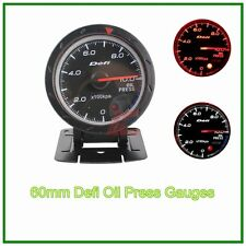 60mm def advanced oil press gauge Amber red/ white lights black face auto meter