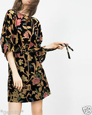 ZARA SIZE M OVERSIZED VELVET DRESS TUNIC DEVORE FLORAL SAMTKLEID KLEID TUNIKA