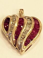 Vintage Heart Pendant Natural Diamond & Ruby Solid 10K Yellow Gold