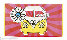 *60s 70s Hippie Hippy Peace Flower Power Flag Campervan Party Banner Decoration*