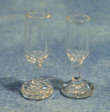 Dolls House Miniature 1/12th Scale Pack of 2 Wine Plastic Glasses