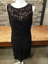 Ralph Lauren Dress Sleeveless Jersey Black Bling Sequins Size 16 P NWT $159