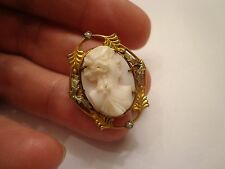 ANTIQUE VICTORIAN HIGH RELIEF GOLD TONE SHELL CAMEO BROOCH