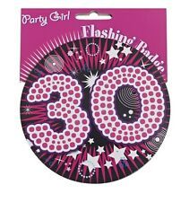 30th Birthday Big Flashing Party Badge Black & Pink 30 Girl Female Badges