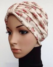 VINTAGE ROSE TURBAN IDEAL FOR HAIR LOSS,ALOPECIA CHEMO TREATMENT CANCER