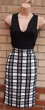 EVITA BLACK BLOCK WHITE CHECK TARTAN VELVET BANDAGE BODYCON PENCIL DRESS 6 XS