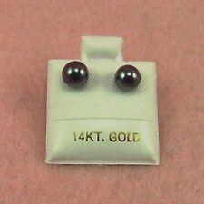 14K White Gold - 6mm Hematite Ball Stud Earrings (GE379)