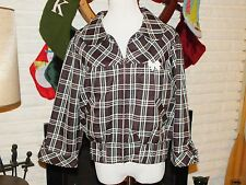 Lucky 13 Women's Sz 2xL Plaid Rockabilly Psychobilly Jacket  3/4 Sleeve