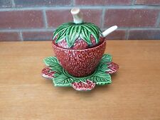 Strawberry Shaped Jam Pot on Saucer With Spoon
