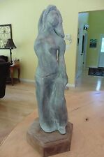 Vintage Sculpture Nude Woman Skirt 16' gray pottery clay ? wooden stand signed ?