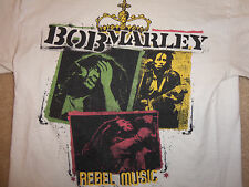 Zion Rootswear Bob Marley Rebel Music Singer White Graphic T Shirt - M