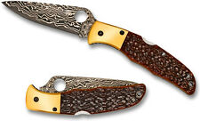 Spyderco SPRINT RUN Endura Damascus Orange Jigged Bone Folder TiBolsters C10JBOP