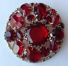 VINTAGE JULIANA RED TEAR DROP RHINESTONE BROOCH