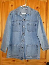Cabin Creek Women's Denim Jacket M Medium Ranch Farm Artist Garden Paint EUC!