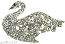 SILVER SWAN DIAMANTE RHINESTONE BROOCH VINTAGE PIN BROACH JEWELLERY- NEW - UK