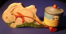 Vintage Fisher Price Easter Bunny Rabbit and Candy Cart Pull Toy #5 - Good