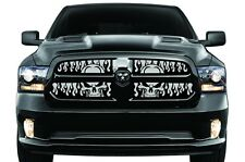 Winter Grille Dodge Ram Truck 1500 13-15 Aluminum Grill Cold BLACK FLAME SKULLS