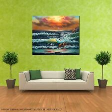 HUGE OIL PAINTING SEA WAVES SPLASHING CLOUDY DAY NATURALISM SEASCAPE (NO FRAME)