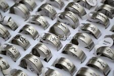 wholesale lots 12pcs mix design wire cut Stainless Steel rings 17-22mm jewelry