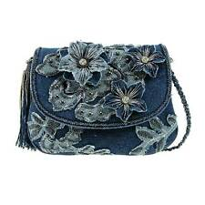 Mary Frances Good Jeans Blue Denim Flower Mini Beaded New Handbag Purse Bag New