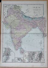 1890 LARGE VICTORIAN MAP - INDIA, INSET CALCUTTA, MADRAS, BOMBAY & SUBURBS,