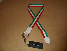 NEW DOLCE & GABBANA D&G MILITARY STYLE ITALY FLAG CANVAS BELT SILVER TONE BUCKLE