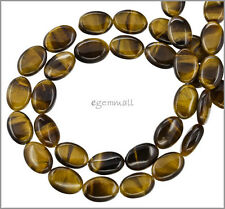 "16"" Tiger's Eye Flat Oval Beads 10x14mm Grade A #81055"
