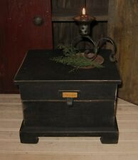 BiG Primitive Wood Table Top RECIPE BOX/Spice/Mail/Candle/Desk Organizer*BLacK