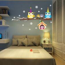 Cute Owl Snowflake Wall Stickers Home Art Wall Sticker Decals Christmas Decor