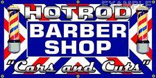 HOTROD BARBER SHOP OLD SCHOOL ORIGINAL SIGN REMAKE BANNER SHOP GARAGE ART 2 X 4