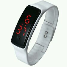 Fashion White Strap Touch Square Dial Digital Bracelet LED Sport WristWatch