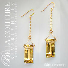 $699 NEW VICTORIAN 14K GOLD DIAMOND CITRINE GEM EMERALD CUT VTG DANGLE EARRINGS
