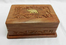 Hand Carved Wooden Secret Slide Lock Box with Brass Elephant Inlay - BNIB