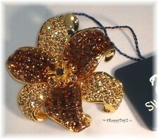 signed Swarovski~ Gold & Amber TOPAZ FLOWER~ Pin Brooch ~pave crystal~ New~$160
