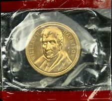 "U.S. Mint Medal President William H. Harrison Mint Cello 1 5/16"" Brass"