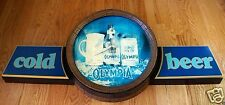 """Authentic Vintage Retro OLYMPIA Cold Beer Country Barrel Style 41"""" Sign Clock"""